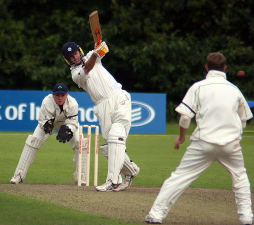 Striking a boundary against Ireland in the 2007 Intercontinental Cup match in Belfast