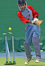 Ben Lougheed of Luxembourg is bowled against Belgium