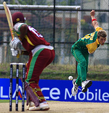 South Africa bowler Matthew Arnold bowls to West Indies Darren Bravo