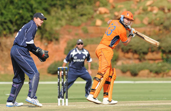 Bas Zuiderent batting for The Netherlands against Scotland