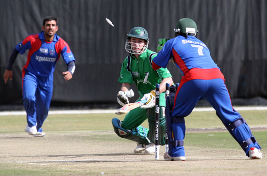 Ireland's Alex Cusack is stumped against Afghanistan