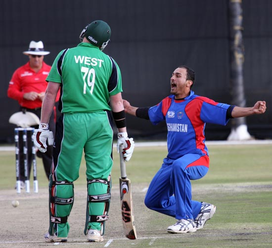Hassan dismisses Regan West in the World Cup Qualifier match between Afghanistan and Ireland