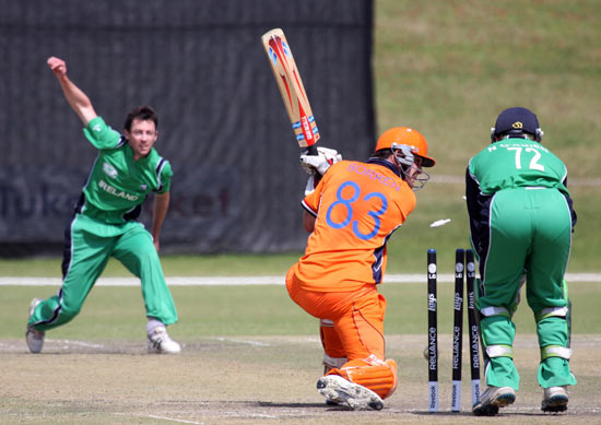 Ireland v The Netherlands: Peter Borren is bowled by Alex Cusack