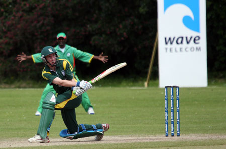 Jeremy Frith goes to his century against Suriname (© CricketEurope)