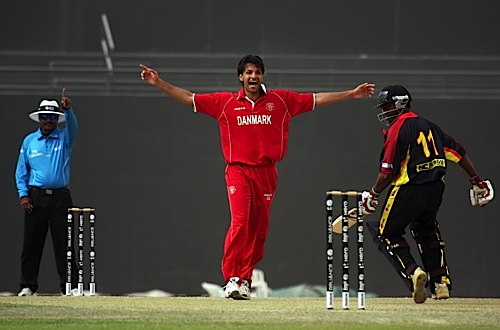 Delight for Aftab Ahmed as he claims another wicket against Papua New Guinea in 2012