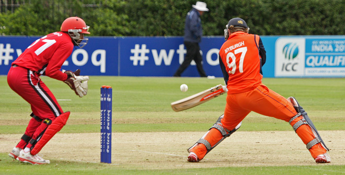 Stephan Myburgh batting during The Netherland's victory over Canada