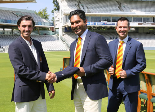 Jake Dunford with Kumar Sangakarra and Ricky Ponting