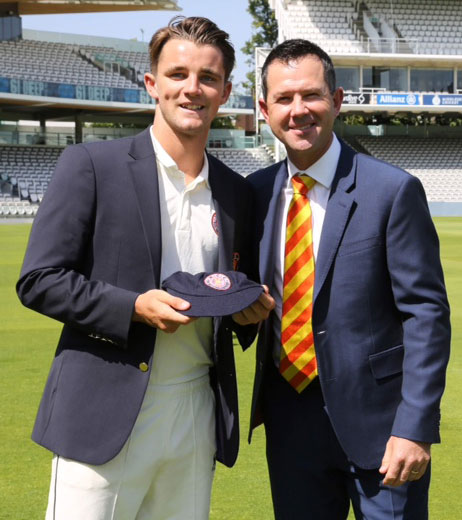 Jonty Jenner pictured with Ricky Ponting