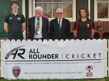(From left to right) Munster Cricket administrator Kevin Galvin, President Jack Russell, Chairman David Griffin, and Cormac Hassett at the All Rounder Cricket sponsorship launch. Photo: John Ketch