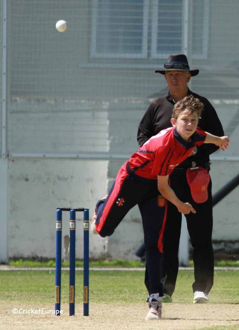 Bowling for Jersey Under 15s against Ireland