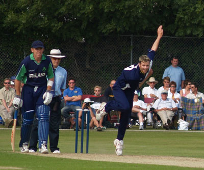 Bowling against Ireland in the 2005 ICC Trophy Final